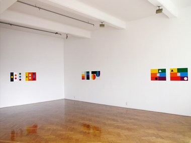 John Nixon, 1A/1B, 2A/2B, 3A/3B, all 2009, enamel on MDF, 45 x 60 cm, each work with two panels
