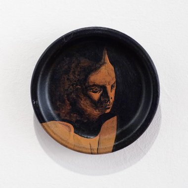 Jason Greig, Devil's Advocate, acrylic on clay, 110mm diameter