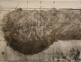 Bronwyn Taylor, Te Waihora, 2009, charcoal on gesso on paper