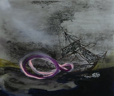 Whitney Bedford, Untitled Shipwreck (the not. knot), 2010, ink and oil on board.