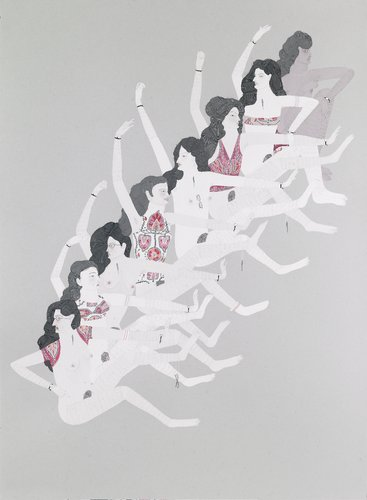 Kushana Bush, Leg Avenue 2010, gouache and pencil, 76 x 56 mm