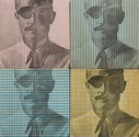 Billy Apple, The Man in the Hathaway Suit 1-4, 1964, xerography on fabric, 40.6 x 40.6 x 2 cm (20.3 x 20.3 cm each)