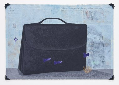 Nick Austin, Aquarium (with briefcase), 2011, acrylic on newspaer, glass, metal fittings, 575 x 785 mm.