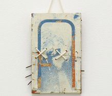 Patrick Lundberg, No Title (6), 2010, incised found paint, board and string, 16 x 12 x 0.8cm