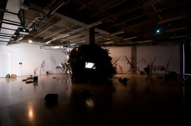 Ko Nakajima, Tao Installation, 2011, wood, 6 channel video, cRt monitors, e-waste, Bonsai tree, waterfall and closed circuit video, (sound: Phil Dadson with Carl Stone and Tetuzi Akoyama). Photo by Melissa Laing.