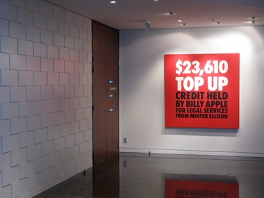 Billy Apple, $23,610 Top Up, 2010, UV impregnated ink on canvas, at Minter Ellison Rudd Watts