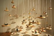 Tiffany Singh, Einstein was a Buddhist, 2011, bamboo, beeswax, incense cones, ribbon, salt etc. Photo by Bryan James.
