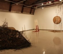The installation of Heavy Pattern showing works (l-r) by Thomas Reveley, Philip Aitken, Marela Glavas, and Ana Iti.