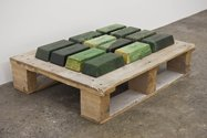 Joe Sheehan, Reserve, 2011,twelve nephrite blocks on wooden pallet.