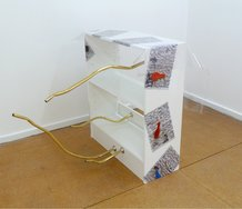 Oscar Enberg, Partial deflation decor, 2011, shelving unit, plastic, adhesive vinyl, chrome fittings, anodised aluminium tubing
