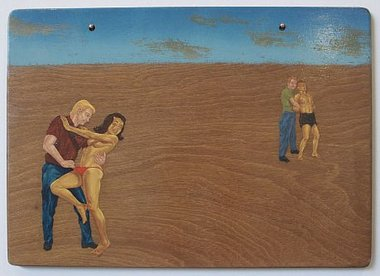 Roger Boyce, The Rape of Aotearoa; An Allegory, 2010, oil and acrylic polymer on hardwood panel, 440 x 610 mm