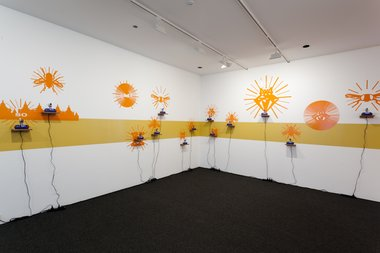 Jenny Gillam, Future Calls the Dawn, 2011, multimedia, with Simon Morris , Sound Line, 2011, acrylic paint, and Dr Kron, Image Credit, 2011, adhesive vinyl