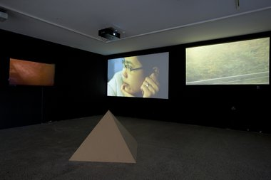 Tahi Moore, I Guess You'd Call It a Video Composition with Pyramid and Beats, installed at Te Tuhi