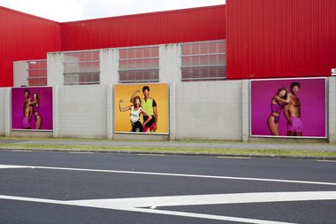 Bepen Bhana's Te Tuhi billboard project, Facial Suite, on Reeves Road, Pakuranga.