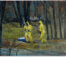 Serapine Pick, Protective Suits Yellow, oil on canvas,  65 x 45 cm