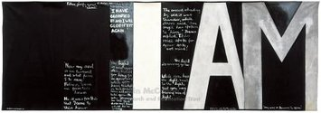 Colin McCahon, Victory Over Death 2, 1970, synthetic polymer paint on unstretched canvas, 2075 x 5977 mm, National gallery of Australia, Gift of the New Zealand Government