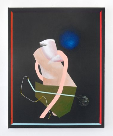 Imogen Taylor, Tubes Tied, 2011, drinking straw, string, acrylic on canvas, 500 x 400 mm