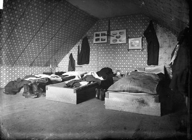 William Williams, Bedroom in 'The Old Shebang', Cuba Street, Wellington, c. 1883 Digital scan from dry-plate glass negative, 12.1 x 16.5 cm E.R. Williams Collection, Alexander Turnbull Library, Wellington