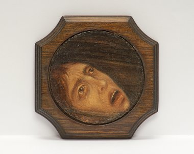 Angela Lane, A Fear of Drowning, oil paint on found board, 100 x 100 mm (77 mm diameter image)
