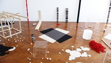 Peter Robinson, Structure & Subjectivity, 2012, felt, perspex, piano wire and wood - as installed at Sue Crockford Gallery