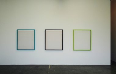 Tomislav Nikolic, installation, acrylic, marble dust and gold leaf on canvas and timber, each 116 x 99.5 cm