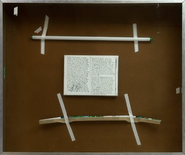 Simon Denny, Performance Video, 2008, screen-printed canvas, fluorescent tube, cardboard, converators tape, aluminium box frame, 1100 x 1300 x 200 mm. Chartwell Collection, Auckland Art Gallery Toi o Tamaki