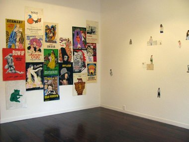On left, Erica van Zon, Poster Survey, 2007-2012, acrylic on paper. On right, Kirsty Bruce, Untitled, 2012, acrylic and watercolour on paper