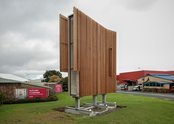 Derrick Cherrie, Landshaft, 2012, outside Te Tuhi. Concrete, galvanized steel, glass, timber, cigarettes. 2465 x 7450 x 5325 mm