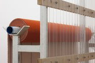 Derrick Cherrie, Constituent Parts #4 (Orange Runner), 2012, galvanised steel, corrugated PVC, carpet. 2700 x 1400 x 4400 mm. Detail