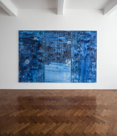 John Reynolds, Kepler's Dream, 2012, silver marker pen, acrylic and rainwater on three canvas panels. 2440 x 3600 mm