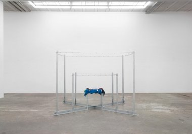 Jim Allen, Arena, 1970 (remade 2012), galvinised steel, barbed wire, clothing donated by family and friends, 2000 mm x 2000 x 2000 mm