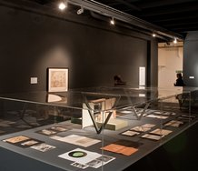 Duchamp works in Peripheral Relations at the Adam. Side view of vitrine. Photo: Robert Cross
