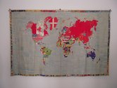 Alighiero Boetti, Mappa, 1971, Embroided tapestry made in Afghanistan, 147 x 228 cm, Private collection. Photo: David Cross
