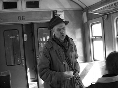 A still from Olga Chernysheva's The Train, 2003, B&W, single channel video, 7.30 minutes, image courtesy of the artist.