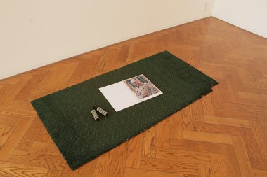 James Wylie, Quarter Report (Fear mamet), 2012, book, strong hand grip, carpet