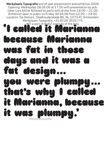 David Bennewith, 'I called it Marianna…', poster/invite, offset, 700 x 500 mm, 2006
