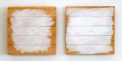 Tahi Moore, Chamonix Hotel Room Paintings (Chamonix), 2012, acrylic and pencil on timber paneling, diptych, 430 x 430 mm each