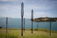 Nic Moon, Breath, corten steel incised with native plant leaf skeleton patterns