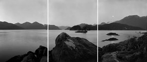 "Mark Adams, Cook's Sites 3 - 10.8.1998 Indian Island, after William Hodges' ""View in Dusky Bay""  Gold toned silver bromide fibre-based prints"
