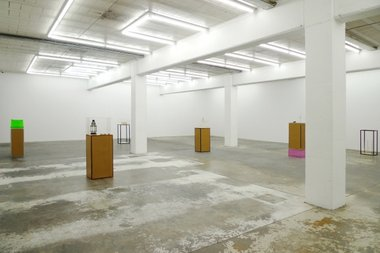 The installation of Hany Armanious' Set Down exhibition at Michael Lett