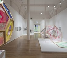Nike Savvas, Sliding Ladder, 2012, wood, wool, at Leeds Art Gallery