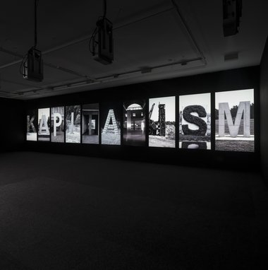 Santiago Sierra, Destroyed Word, 2012.  10 channel video installation at Te Tuhi. Image: Sam Hartnett