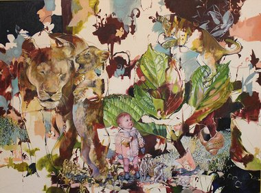 Jasmine Middlebrook, Telling Tails, 2012, oil on canvas. 950 x 1200 mm