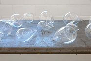 Dane Mitchell, Spectral Readings (Liverpool), 2012, detail, blown glass, spoken word, found display table dimensions vary