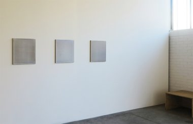 Leigh Martin: Untitled (SD 4), Untitled (SD6), Untitled (SD 5). All 2013, acrylic on linen and 500 x 450 mm