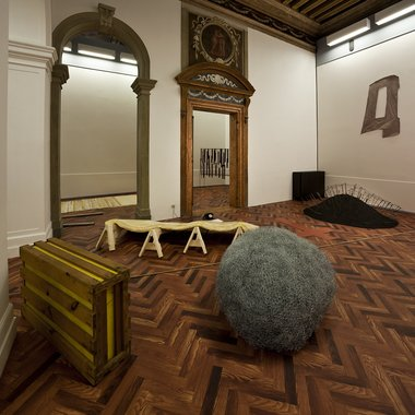 "Installation view of ""When Attitudes Become Form: Bern 1969/Venice 2013"" From left to right: works by Gary B. Kuehn, Eva Hesse, Alan Saret, Reiner Ruthenbeck, Richard Tuttle. At Fondazione Prada. Photo: Attilio Maranzano"