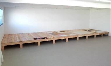 Kate Newby, What a day., 2013, timber platform, 470 x 3000 x 1095 mm. Installation view: Hopkinson Cundy, Auckland