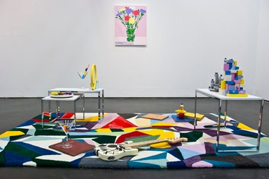 Masato Takasaka and Madeline Kidd, Living room Arrangement, 2013, installation view. Photo by Kay Abude.