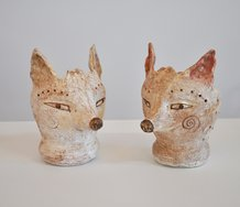Bronwynne Cornish, Fox, High-fired red earthenware with white and coloured slips