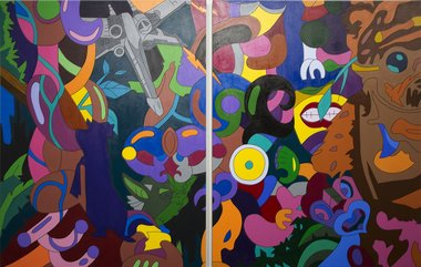 Zena Elliot, Familar Spaces: Diptych, 2012, acrylic on canvas. Photo by Aisha Roberts
